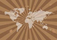 Linha fundo do mundo com Sunburst de Grunge Fotos de Stock