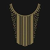 Linha geométrica étnica bordado do pescoço Decoração para a roupa foto de stock