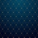 Linha geométrica abstrata teste padrão do traço do ouro dos quadrados em escuro - estilo azul do luxo do fundo ilustração royalty free