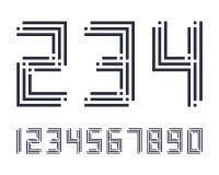 A linha geométrica projeto da fonte do efeito do estilo numera o espaço futurista Imagem de Stock