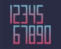A linha geométrica projeto da fonte do efeito do estilo numera o espaço futurista Fotos de Stock