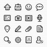 Linha geral ícones do Web site no fundo branco - Vector a ilustração ilustração stock