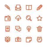 Linha gorda ícones Imagens de Stock