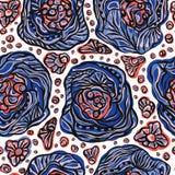 Linha gráfica corajosa Art Flowers Seamless Vetora Pattern ilustração stock