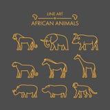 Linha grupo africano do vetor do ícone dos animais Fotos de Stock