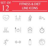 Linha grupo da aptidão e da dieta do ícone, vida saudável ilustração do vetor
