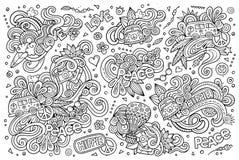 Linha grupo da arte de objetos da hippie Imagem de Stock