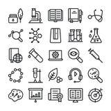 Linha grupo da ciência e da educação dos ícones ilustração do vetor