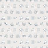 Linha grupo da compra do teste padrão do ícone Fotos de Stock