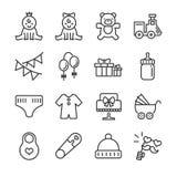 Linha grupo da festa do bebê do ícone Incluiu os ícones como o bebê, a criança, o balão, o presente, a decoração, os brinquedos e ilustração stock