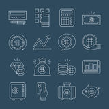 Linha grupo da finança do negócio do ícone ilustração stock