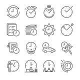 Linha grupo da gestão de tempo do ícone ilustração do vetor