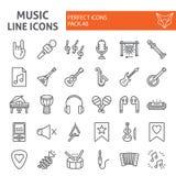 Linha grupo da música do ícone, símbolos coleção dos instrumentos musicais, esboços do vetor, ilustrações do logotipo, sinais do  ilustração do vetor