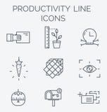 Linha grupo da produtividade do ícone Foto de Stock Royalty Free