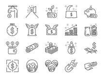 Linha grupo da renda passiva do ícone Incluiu os ícones como a liberdade, despesas, a taxa, o investimento e mais financeiros ilustração do vetor