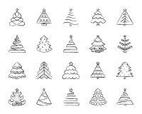 Linha grupo da tração do carvão vegetal da árvore de Natal do vetor dos ícones ilustração royalty free