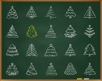 Linha grupo da tração do giz da árvore de Natal do vetor dos ícones ilustração royalty free