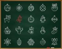 Linha grupo da tração do giz da decoração da árvore do Xmas do vetor dos ícones ilustração royalty free