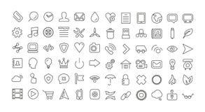 Linha grupo da Web do ícone. Ícones finos universais Imagens de Stock Royalty Free