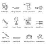 A linha grupo das ferramentas dos eletricistas do ícone Fotos de Stock Royalty Free