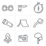 Linha grupo de acampamento preto do tema do vetor do estilo dos ícones ilustração stock