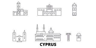 Linha grupo de Chipre da skyline do curso Ilustração do vetor da cidade do esboço de Chipre, símbolo, vistas do curso, marcos ilustração do vetor