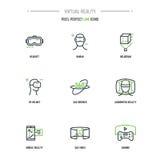 Linha grupo de 9 VR do ícone ilustração royalty free