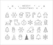 Linha grupo do ícone do Natal ilustração do vetor