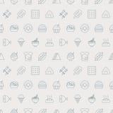 Linha grupo do alimento do teste padrão do ícone Imagens de Stock Royalty Free