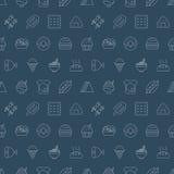 Linha grupo do alimento do teste padrão do ícone Foto de Stock