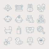 Linha grupo do bebê do ícone imagem de stock royalty free