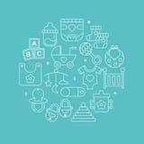 Linha grupo do bebê do círculo do ícone Imagem de Stock Royalty Free