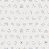 Linha grupo do bebê do teste padrão do ícone Fotografia de Stock Royalty Free