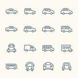 Linha grupo do carro do ícone ilustração stock