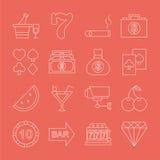 Linha grupo do casino do ícone Imagens de Stock Royalty Free