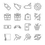 Linha grupo do disconto e da venda do ícone Incluiu os ícones como o preço, o disconto do preço, o crachá, o vale, a oferta espec Fotografia de Stock Royalty Free