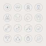 Linha grupo do esporte do ícone Imagens de Stock Royalty Free