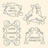 Linha grupo do logotipo das sereias da arte Fotos de Stock
