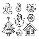 Linha grupo do Natal ou do ano novo do ícone ilustração stock