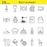 Linha grupo do restaurante e do café do vetor do ícone Foto de Stock Royalty Free