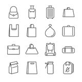 Linha grupo do saco do ícone Incluiu os ícones como o saco de plástico, a mala de viagem, a bagagem, a bagagem e o mais ilustração stock