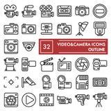 Linha grupo do vídeo câmera do ícone, símbolos coleção da câmera, esboços do vetor, ilustrações do logotipo, pictograma lineares  ilustração stock