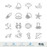 Linha grupo do vetor do ?cone Marine Life Related Linear Icons Criaturas do mar, símbolos dos animais, pictograma, sinais ilustração stock
