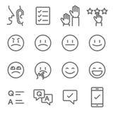 Linha grupo do vetor da avaliação do ícone Contém ícones como Emoji, Emoticon, questionário e mais Curso expandido ilustração royalty free