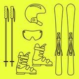 Linha grupo do vetor da engrenagem do esqui do ícone Fotografia de Stock Royalty Free