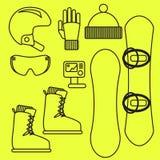 Linha grupo do vetor da engrenagem do Snowboard do ícone Fotografia de Stock Royalty Free