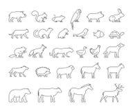 Linha grupo do vetor de animais domésticos e selvagens Imagens de Stock Royalty Free