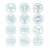 Linha grupo do vetor dos sinais do zodíaco dos ícones Emblemas coloridos do horóscopo ilustração royalty free