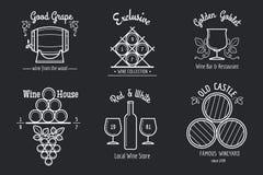 Linha grupo do vinho do logotipo Fotografia de Stock Royalty Free