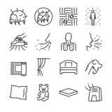 Linha grupo dos ácaros da poeira do ícone Incluiu os ícones como ácaros da poeira, pulga, erros de cama, quarto, cama, assassino  ilustração royalty free